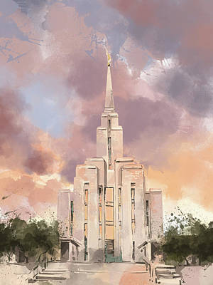 Salt Lake Temple Wall Art - Digital Art - Oquirrh Mountain Temple Watercolor by Bekim Art