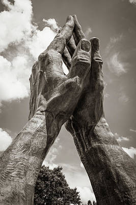 Photograph - Oral Roberts University Praying Hands - Tulsa Oklahoma - Sepia Edition by Gregory Ballos