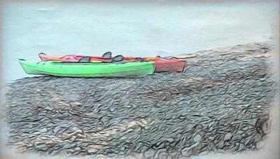 Digital Art - Orange And Green Kayaks by Leslie Montgomery