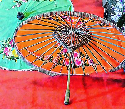 Photograph - Orange And Green Oriental Parasols by Dorothy Berry-Lound