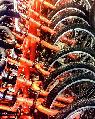 Photograph - Orange Bicycles by Thomas Marchessault