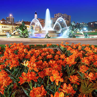Royalty-Free and Rights-Managed Images - Orange Bloom at J.C. Nichols Fountain in Kansas City by Gregory Ballos