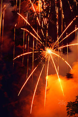 Photograph - Orange Fireworks by Meta Gatschenberger