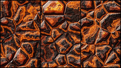 Traditional Bells - Orange Colored Stone Triptych by Don Northup