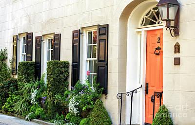 Photograph - Orange Door On Bedons Alley Charleston by John Rizzuto
