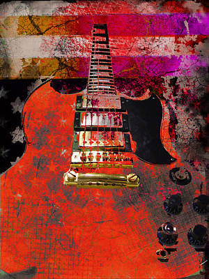 Digital Art - Orange Electric Guitar And American Flag by Guitar Wacky