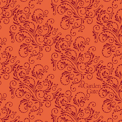 Digital Art - Orange Fern Design by Garden Gate magazine