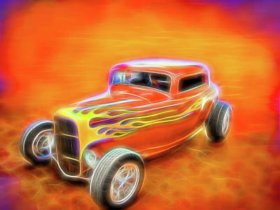 Digital Art - Orange Flamed Roadster by Rick Wicker