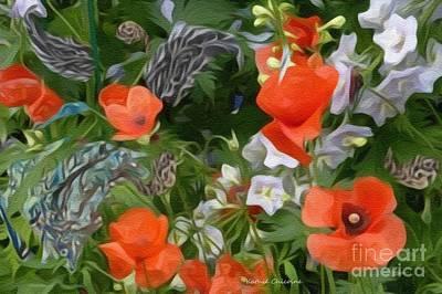 Digital Art - Orange Flowers by Kathie Chicoine