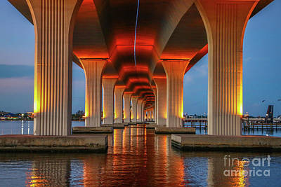Orange Light Bridge Reflection Art Print