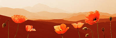 Photograph - Orange Poppies Tuscany Italy by Maarten Wouters