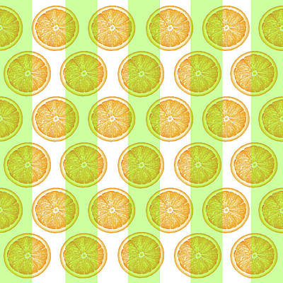 Royalty-Free and Rights-Managed Images - Orange Slice Pattern 2 - Tropical Pattern - Tropical Print - Lemon - Orange - Fruit - Tangerine by Studio Grafiikka