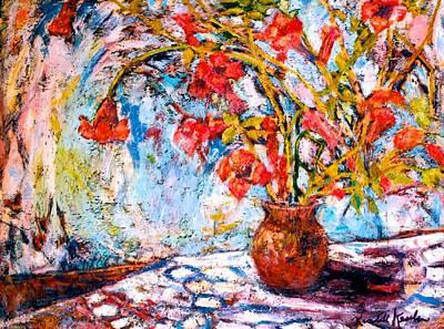 Painting - Orange Trumpet Flowers by Kendall Kessler