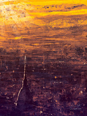 Surrealism Digital Art - Orange Turin Aerial View by Andrea Gatti