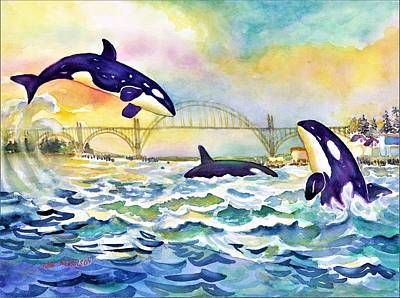 Painting - Orcas In Yaquina Bay by Ann Nicholson