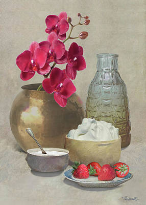 Mixed Media - Orchid And Strawberries by M Spadecaller