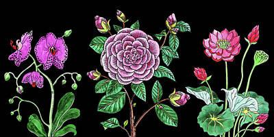 Painting - Orchid Camellia Lotus Flowers Watercolor Bouquet by Irina Sztukowski