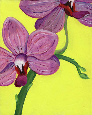 Painting - Orchid on Yellow by Laura Dozor