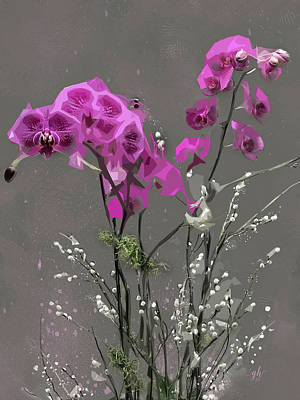 Digital Art - Orchids For Valentines by Gina Harrison