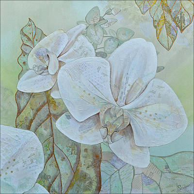 Colorful Button - Orchids in White by Shadia Derbyshire