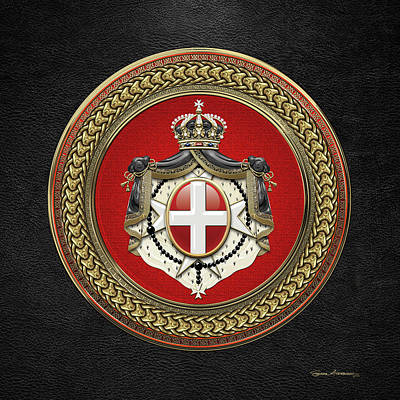 Digital Art - Order Of Malta -  S M O M Coat Of Arms Special Edition Over Black Leather by Serge Averbukh