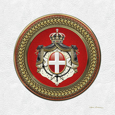 Digital Art - Order Of Malta -  S M O M Coat Of Arms Special Edition Over White Leather by Serge Averbukh