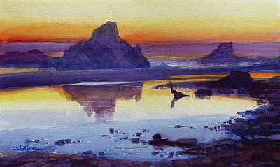 Painting - Oregon Coast Afterglow by Steve Henderson