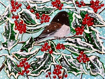 Painting - Oregon Junco  Holly by Jennifer Lake
