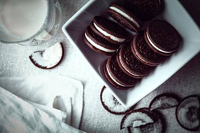 Photograph - Oreos And Milk Flat Lay by Jeanette Fellows