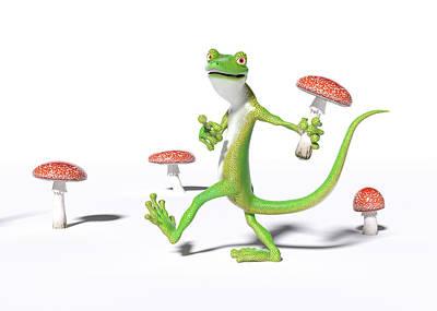 Surrealism Digital Art - Organic Gecko by Betsy Knapp