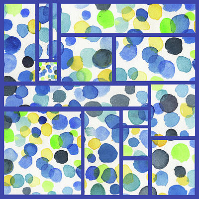 Painting - Organic Polka Dots Blocks Abstract Watercolor by Irina Sztukowski