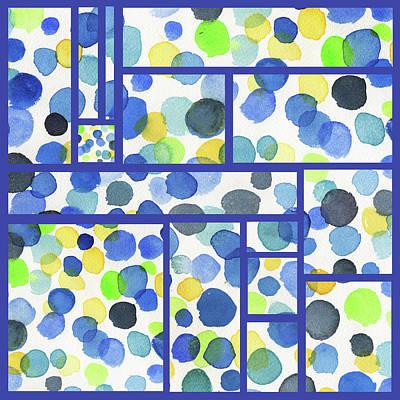 Royalty-Free and Rights-Managed Images - Organic Polka Dots Blocks Abstract Watercolor by Irina Sztukowski