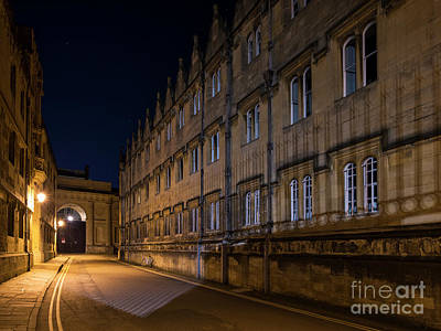 Photograph - Oriel College In Merton Street At Night by Tim Gainey