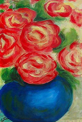 Painting - original-fine-art-custom-print-red-roses-blue-vase-II by G Linsenmayer