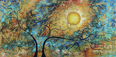 Painting - Original Madart Metallic Gold Abstract Landscape Moon Painting Breathtaking By Megan Duncanson by Megan Duncanson