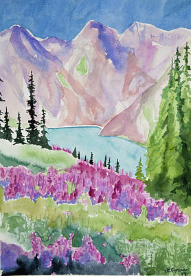 Painting - Original Watercolor - Blue Lakes Summer by Cascade Colors