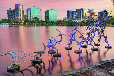 Impressionist Landscapes - Orlando Skyline and Take Flight Sculptures at Sunset by Gregory Ballos