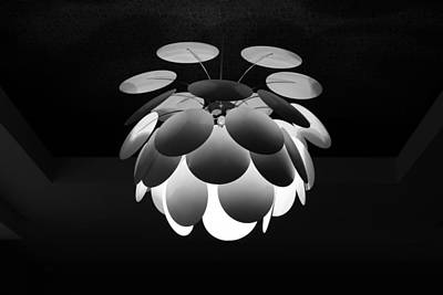 Photograph - Ornamental Ceiling Light Fixture - Grayscale by Debi Dalio