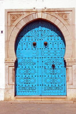 Photograph - Ornate Blue Arched Door, Close Up by Chris Caldicott