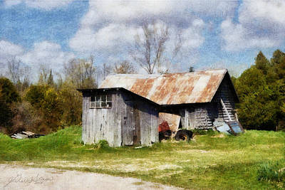 Digital Art - Oro Farm Sheds by JGracey Stinson