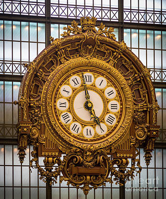 Photograph - Orsay Clock by Inge Johnsson
