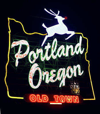 Photograph - Portland White Stag Red Nose Sign by Rospotte Photography