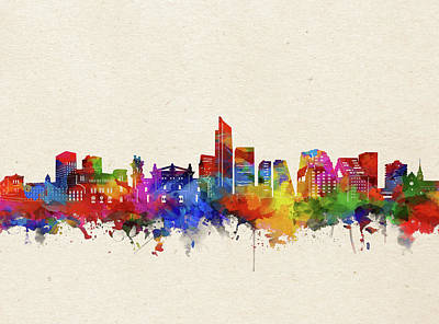 Abstract Skyline Royalty-Free and Rights-Managed Images - Oslo Skyline Watercolor by Bekim M