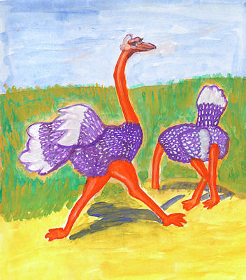 Painting - Funny Ostriches by Dobrotsvet Art