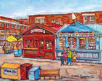 Painting - Ottawa Byward Market Beavertails Pastries Sweets Lois N Frima's Ice Cream Lester Hot Dogs C Spandau by Carole Spandau