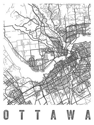 Ottawa Wall Art - Digital Art - Ottawa Canada Street Map - Caow01 by Aged Pixel