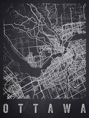 Ottawa Wall Art - Digital Art - Ottawa Canada Street Map - Caow02 by Aged Pixel