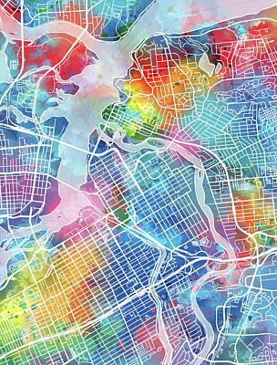 Ottawa Wall Art - Digital Art - Ottawa Map Watercolor by Bekim Art