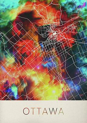 Ottawa Wall Art - Mixed Media - Ottawa Ontario Canada Watercolor City Street Map by Design Turnpike
