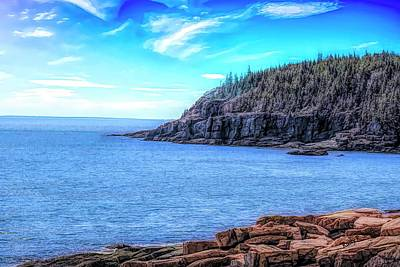 Digital Art - Otter Cliffs Acadia National Park,maine by Rusty R Smith
